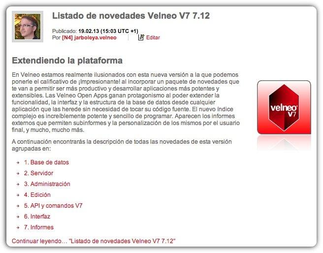 Listado de novedades Velneo 7.12