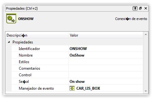 Manejador OnShow para cargar elementos del listbox
