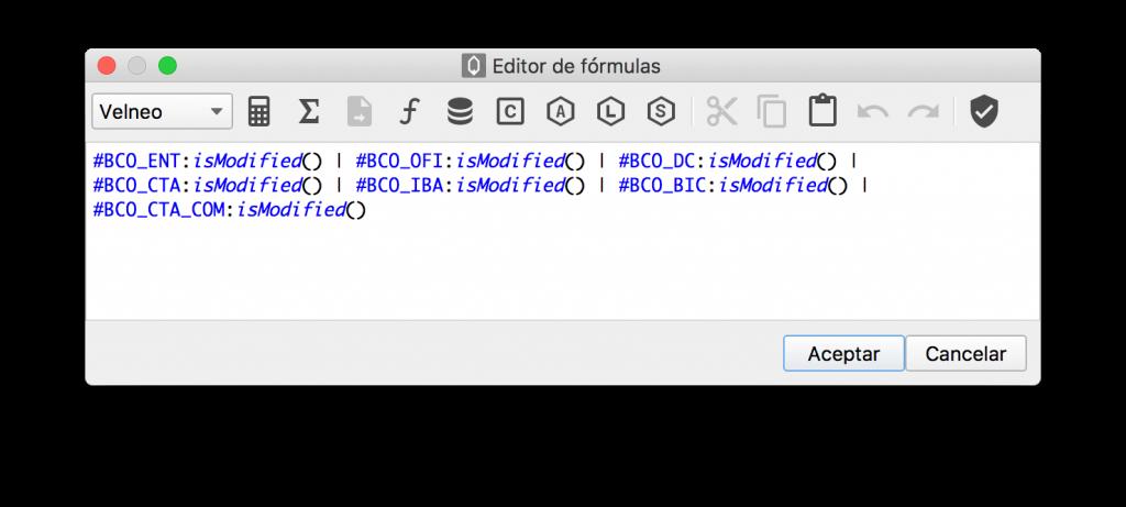 Edición de fórmula usando isModified()