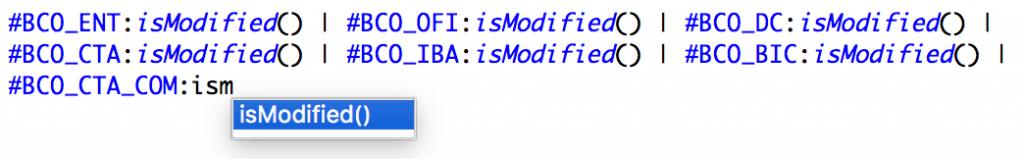 Editor de fórmula, función isModified()